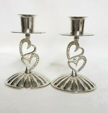 Silver Plated Crystal Sparkling Love Double-Heart Wedding Taper Candle Holder 2x