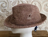 * WOW! KANGOL HERRINGBONE GAFFER TRILBY * 6449BC * BROWN *