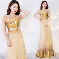 NEW Evening Formal Party Ball Gown Prom Bridesmaid Hosting Sequins Dress YSGZ128
