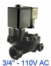 """3/4"""" Inch PA66 Plastic Electric Air Water Solenoid Valve Manual Override 110V AC"""