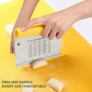 2 in 1 Stainless Steel Dough Scraper Set  Bread Making Tools With Measurement