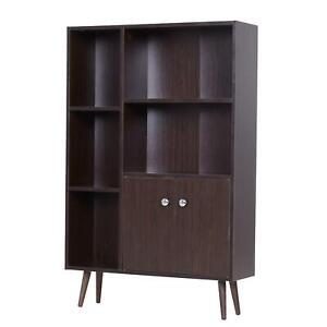 Living Room Bedroom Bookcase Display Storage Brown Wood Modern w Legs Shelf Unit