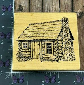 PSX Designs Wood Cabin House Log Rubber Stamp 1996 HC1714 Wood #AO78