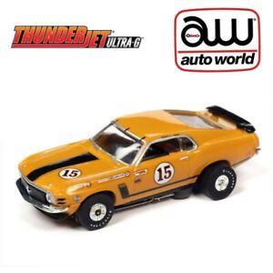 Auto World 1970 Ford Mustang Orange Parnelli Jones Thunderjet HO Slot Car AFX