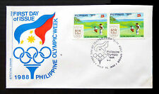 PHILIPPINES 1988 Olympic Games Golf Imperf Pair on Souvenir FDC BIN1360