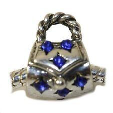 """Purse Handbag"" Royal Blue Crystals Bead for European Snake Chain Charm Bracelet"