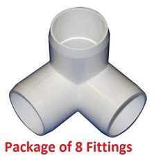 "1-1/4"" Furniture Grade 3-Way Corner Elbow PVC Fitting - 8 Pack"