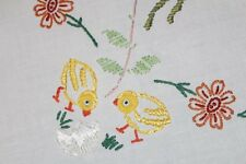 EASTER CHICKS & SILK EMB THREAD! VTG GERMAN HAND EMBROIDERED TABLECLOTH