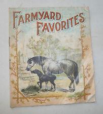 FARMYARD FAVORITES LINEN BOOK  CATTLE PIGS  1900