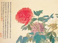 Japanese Yun Shouping Peonies Flowers Picture Canvas Art Print