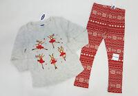 NWT Old Navy Girls Size 4t or 5t Ballerina Reindeer & Red Fair Isle Leggings