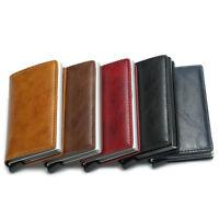 Men Wallet Unisex Aluminum RFID Blocking Pop-up Leather Credit Card Holder Purse