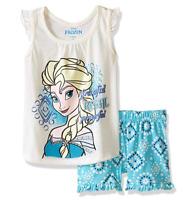 Disney Girls' 2 Piece Frozen Short Set, Off/White, 2T