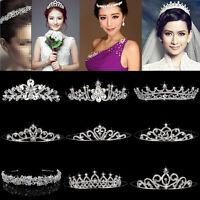 Wedding Bridal Tiara Rhinestone Crystal Crown Veil Headband Tiara Pageant Prom