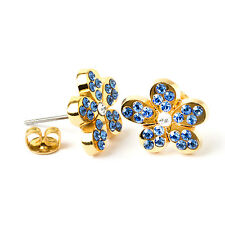 Superb Masonic Freemason Ladies Forget Me Not Earrings Swarovski Stones Gift