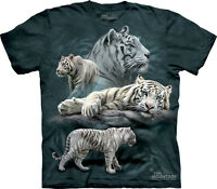 UNISEX T-SHIRT TIGER COLLAGE STONEWASHED MULTICOLORED GRAPHIC TEE SIZE MEDIUM