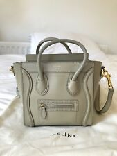 Celine Nano Luggage Handbag In Smooth Calfskin Taupe With Gold Metal Hardware