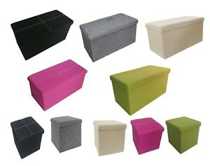Folding Storage Ottoman Seat Toy Storage Box Pouffe Foot Stool Linen Look