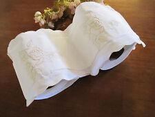 Elegant Double Beige Rose Embroidery White Cotton Toilet Roll Holder Organiser