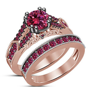 2 Ct Round Cut Pink Sapphire Bridal Engagement Ring Band Set 14K Rose Gold Over