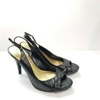 Ralph Lauren Size 8 Slingback High Heels Shoes Snakeskin Leather Upper