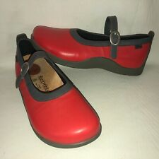 Footprints by Birkenstock Women's 40 Narrow Red Leather Mary Janes Shoes