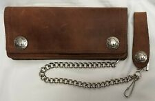 """Brown Leather Trucker Wallet Buffalo Nickel Snaps 7.5"""" x 3.5"""" With 12"""" Chain USA"""