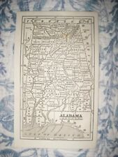 RARE EARLY ANTIQUE 1853 ALABAMA MAP RAILROAD MOBILE FINELY DETAILED NR