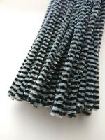 50 x Premium Craft Pipe Cleaners Chenille Stems 30cm x 6mm  GREY / BLACK STRIPE