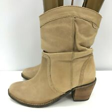 New Fat Face Mid Calf Boots UK 6.5 EU 40 Beige Leather Western Cowboy 281990
