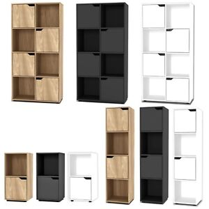 2, 4, 8 Cube Bookcase Shelving Display Shelf Storage Unit Wooden Door Organiser