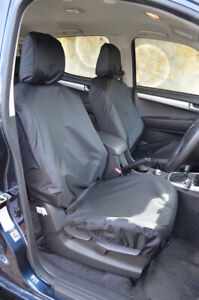 Black Tailored Waterproof Seat Covers Front 2 for Isuzu D-Max 2012-2021