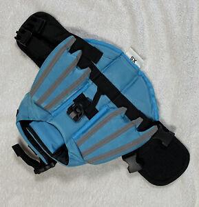 Dog Life Jacket Floatation Safety Vest Blue XS Wings PVC Nylon Swimming