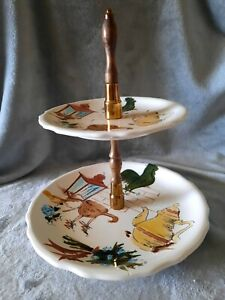 Vintage 1960s Enesco Country 2 Tier Centerpiece Tidbit Serving Plate Dish Tray