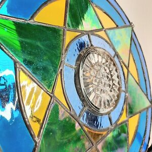"""STAINED GLASS HANGING Star GREEN YELLOW BLUE LEADED CRYSTAL  SIGNED JR 13.5"""" '05"""