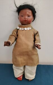 "Antique German Composition Armand Marseille 353/6/0 K Oriental Doll 9"""