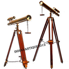 """NAUTICAL 18"""" BROWN ANTIQUE TELESCOPE WITH BROWN TRIPOD TABLE STAND"""
