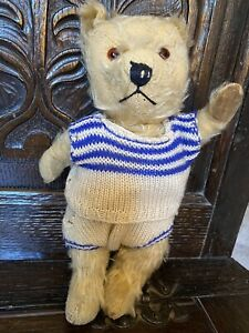 Antique Chiltern Teddy Bear. Long Mohair, Jointed, Glass Eyes, 11 Inches.