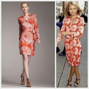Diane von Fursteberg DVF 'NEW JEANNE' Sun Dial Silk Wrap Dress US6