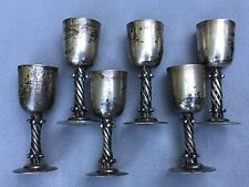 "6 Silver Plated Los Castillo Cordials Goblets Modern Silver in ""Spratling Style"""