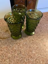 Set Of 3 Vtg Footed Indian Whitehall Colony Green Water/tea Tumble Glasses