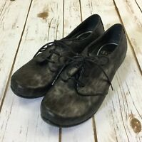 Dansko Lace Up Leather Shoes Size 36 (5.5 - 6) Gray Black Cheetah Print