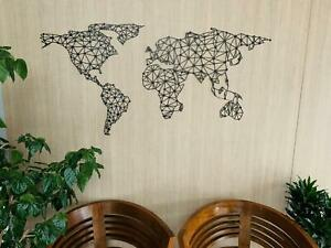 World Map Metal Wall Art Home Decor Hanging Continents Office Decor Travel Gifts