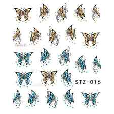 NAIL ART STICKERS WATER DECAL NAIL TRANSFER WRAPS BUTTERFLY CUTE RETRO STZ016