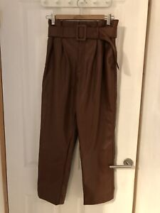 Ladies Brown Faux Leather High Waisted Trousers Belted H&m Size 10 Nwot