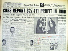 1961 hdlne newspaper CHICAGO CUBS team makes a yearly profit of $27,000 in 1960