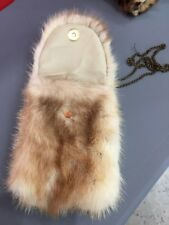 6x4´´ IVORY CROSS MINK FUR BAG HANDBAG PURSE FULL LEATHER IPHONE CASE CHAINE