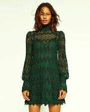 ZARA GREEN SEMI-SHEER DRESS WITH LONG SLEEVES SIZE S