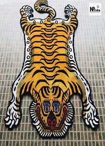 Silk Tibetan Tiger Rug  Carpet Runner 3 different size Handmade Gold colour