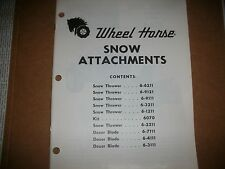 wheel horse tractor SNOW ATTACHMENTS PARTS MANUAL (orig) 33 PAGES
